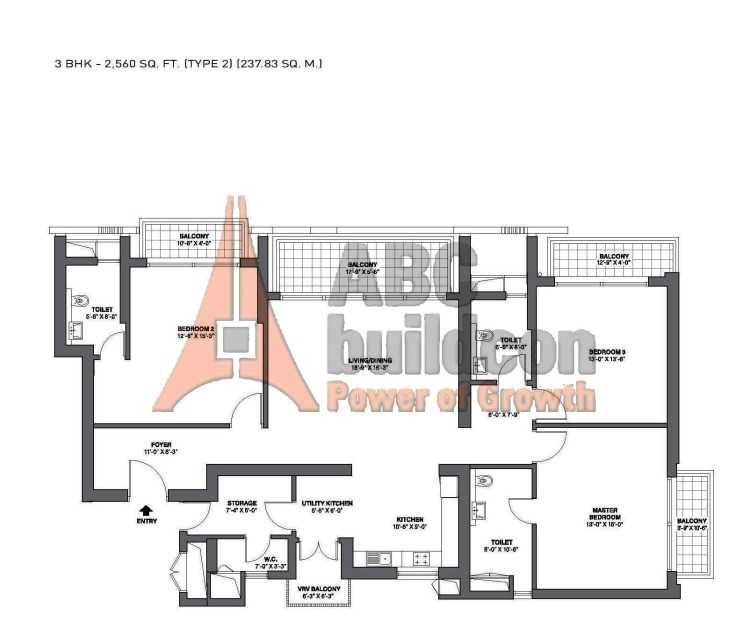 TATA Primanti Garden Estate Floor Plan 3 BHK + Store – 2560 Sq. Ft.