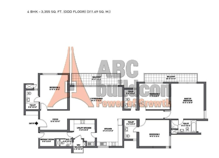 TATA Primanti Garden Estate Floor Plan 4 BHK + S.R – 3355 Sq. Ft.