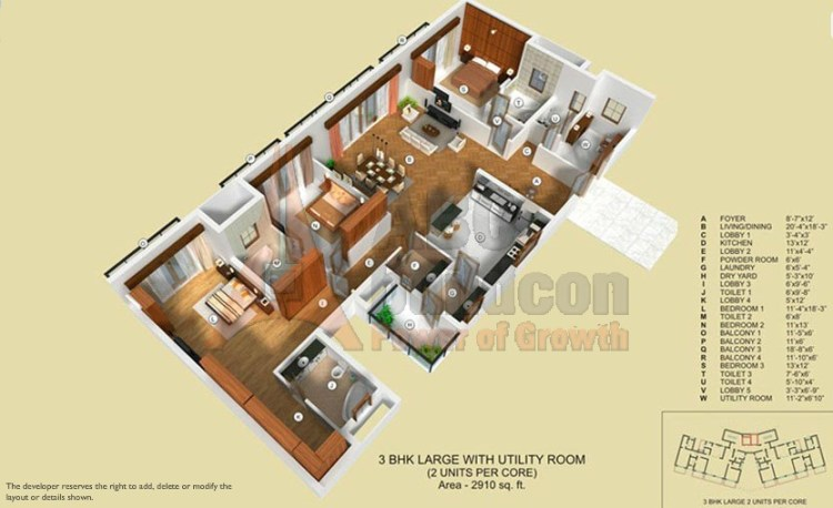 TATA Raisina Residency Floor Plan 3 BHK + Utility – 2910 Sq. Ft.