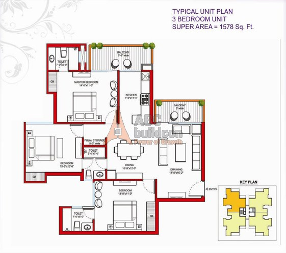 Tulip Violet Floor Plan 3 BHK + Store – 1578 Sq. Ft.