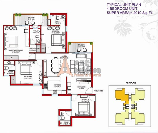 Tulip Violet Floor Plan 4 BHK  – 2010 Sq. Ft.