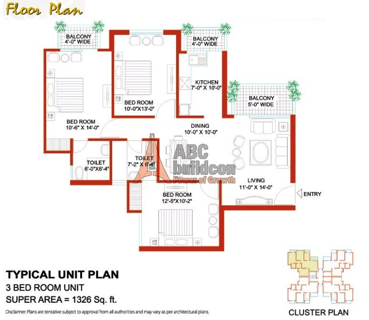 Tulip White Floor Plan 3 BHK – 1326 Sq. Ft.