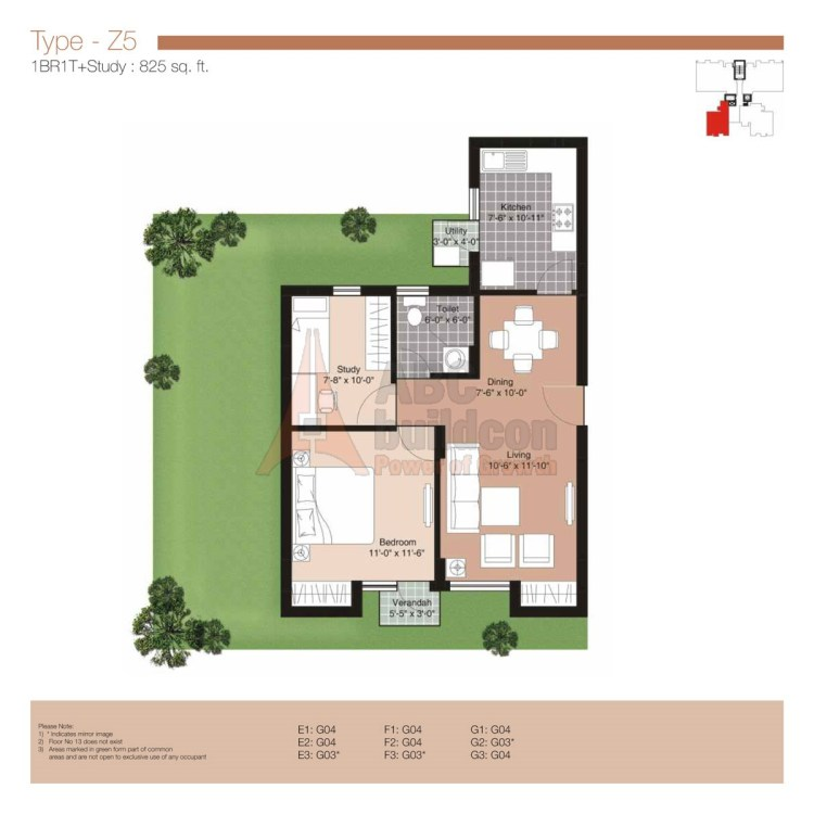 Unitech Residences Floor Plan 1 BHK – 825 Sq. Ft.
