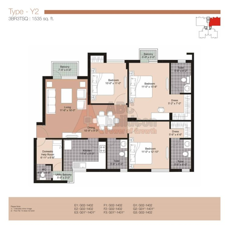 Unitech Residences Floor Plan 3 BHK + S.R – 1535 Sq. Ft.