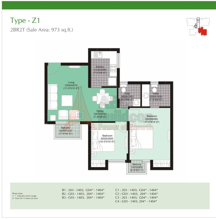 Unitech Uniworld Gardens 2 Floor Plan 2 BHK – 973 Sq. Ft.