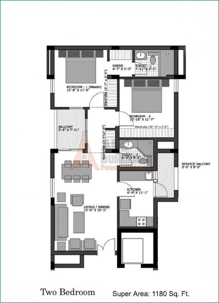 Vatika City Homes Floor Plan 2 BHK – 1180 Sq. Ft.