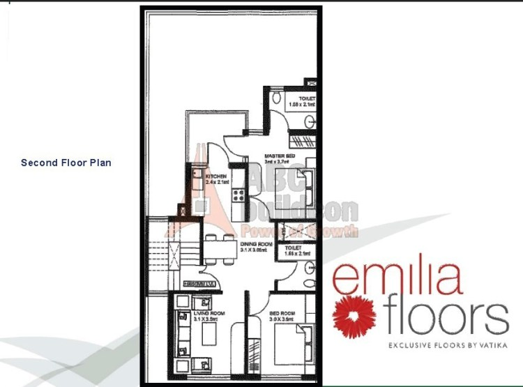 Vatika Emilia Floor Plan 2 BHK – 905 Sq. Ft. - 2nd Floor