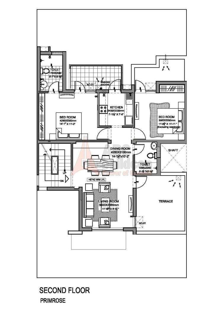 Vatika Primrose Floors Floor Plan 2 BHK – 1056 Sq. Ft.