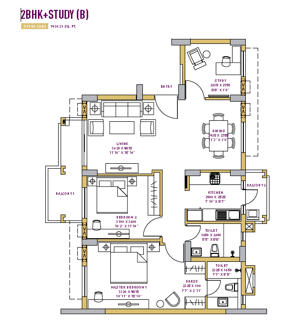 Vatika Seven Lamps Floor Plan 2 BHK+ Study – 1430 Sq. Ft.