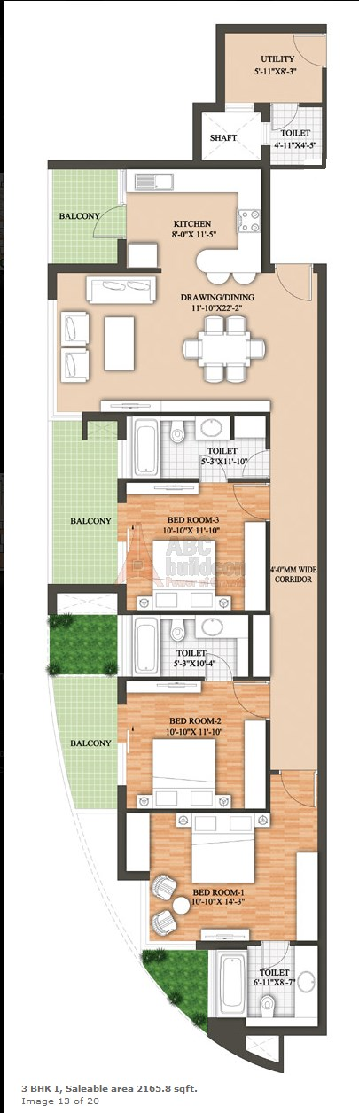 aheja Revanta Floor Plan 3 BHK + Utility – 2165 Sq. Ft.