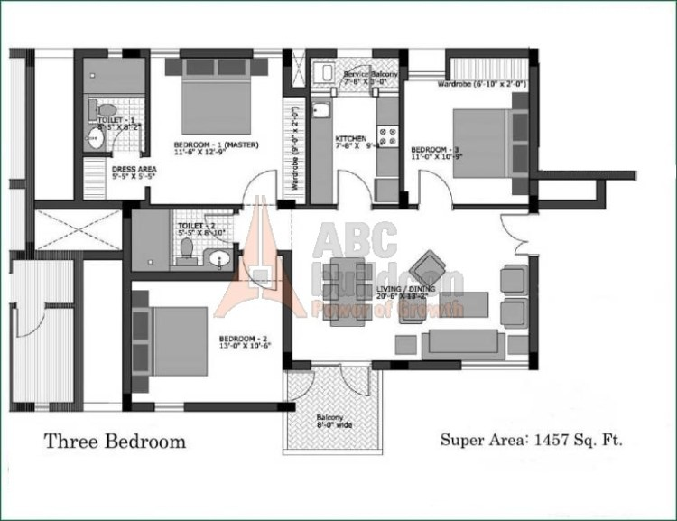 atika City Homes Floor Plan 3 BHK – 1457 Sq. Ft.