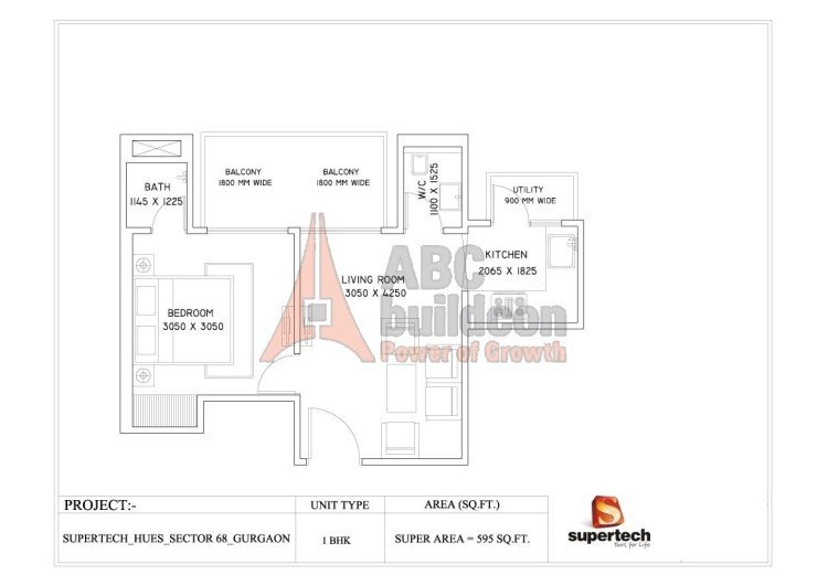 1. Supertech Azaliya Floor Plan 1 BHK – 595 Sq. Ft.
