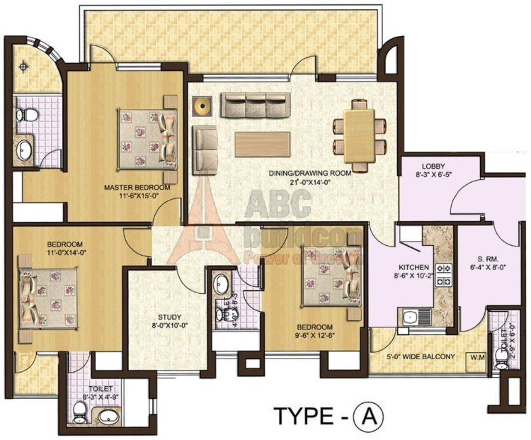 2. Spaze Privy Floor Plan 2 BHK + S.R + STUDY – 1975 Sq. Ft.