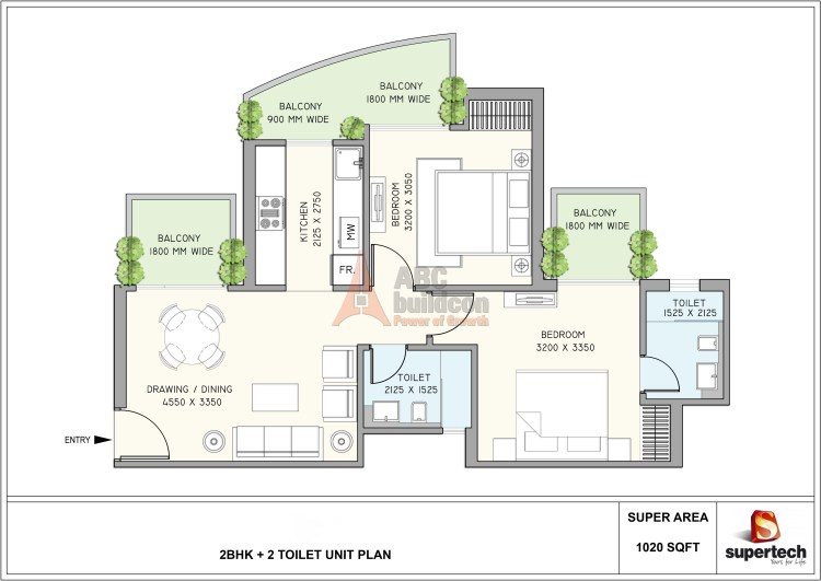 2. Supertech Azaliya Floor Plan 2 BHK – 1020 Sq. Ft.