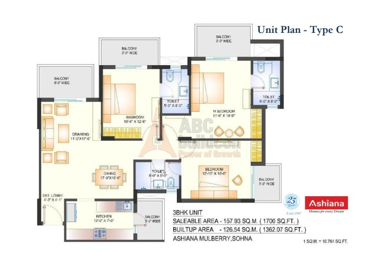 3. Ashiana Mulberry Floor Plan 3 BHK – 1700 Sq. Ft.