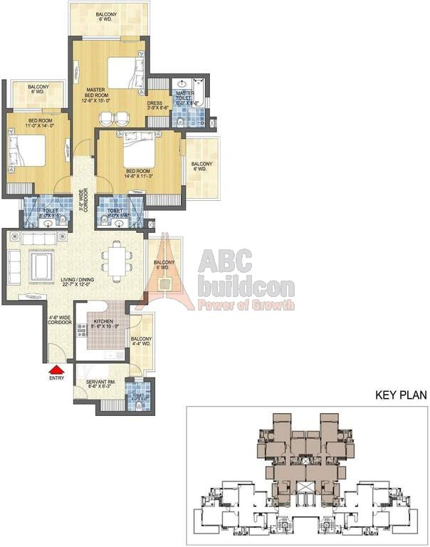 4. Spaze Privy Floor Plan 3 BHK + S.R + STUDY – 2175 Sq. Ft.