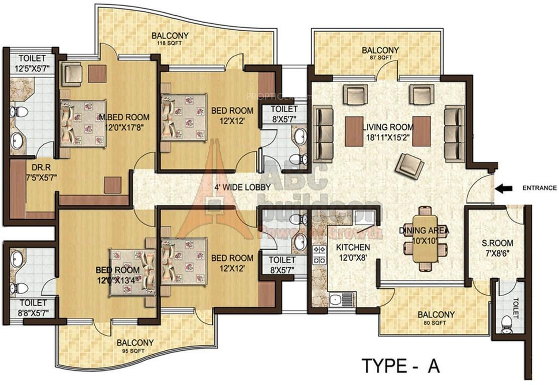 Spaze Privy Floor Plan 4 Bhk S R F L Study 3300 Sq