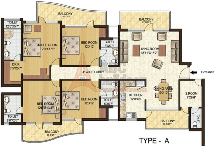 6. Spaze Privy Floor Plan 4 BHK + S.R – 2597 Sq. Ft.