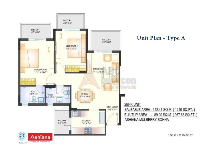 Ashiana Mulberry Floor Plan 2 BHK – 1210 Sq. Ft.
