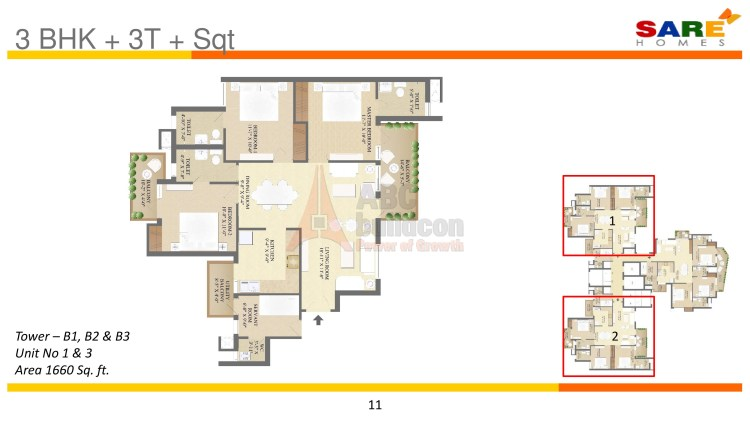 Sare Olympia Floor Plan 3 BHK (Unit 1 & 3) – 1600 Sq. Ft.