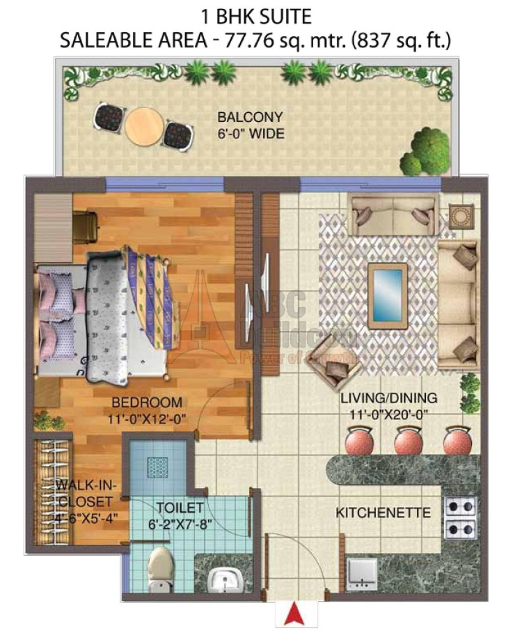 1. Central Park 3 The Room Floor Plan 1 BHK – 837 Sq. Ft.