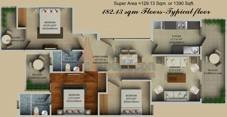 2. Supertech Hill Crest Floors Floor Plan 3 BHK – 1390 Sq. Ft.