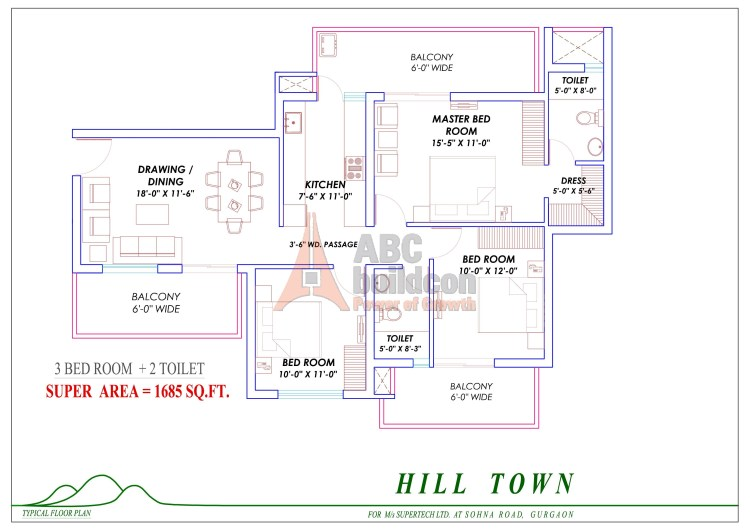 4. Supertech Hill Floor Plan 3 BHK – 1685 Sq. Ft.