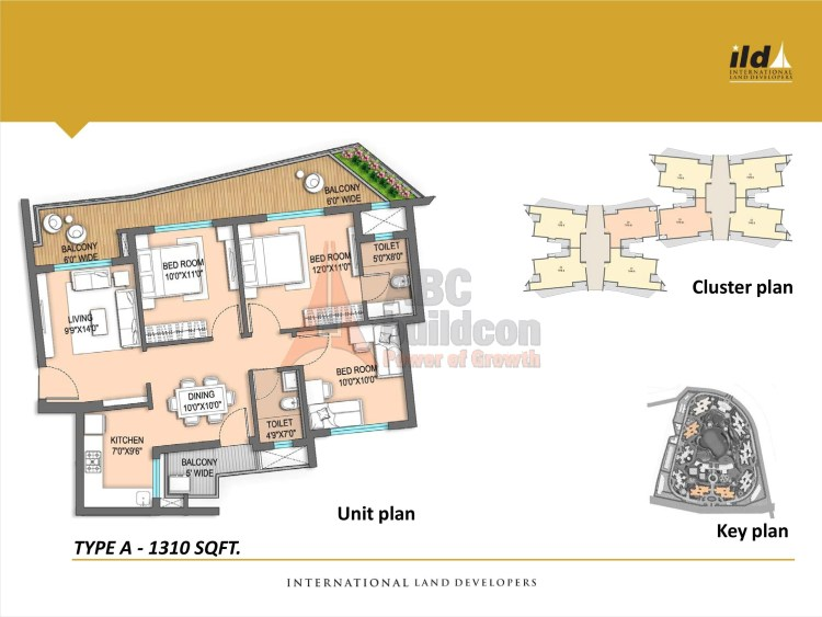 3. ILD GSR Drive Floor Plan Plan 3 BHK – 1310 Sq. Ft.
