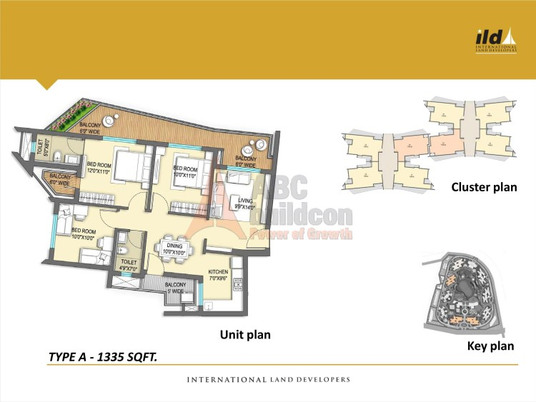 4. ILD GSR Drive Floor Plan Plan 3 BHK – 1335 Sq. Ft.