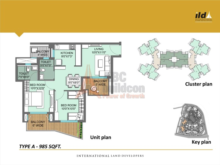 ILD GSR Drive Floor Plan Plan 2 BHK – 985 Sq. Ft.