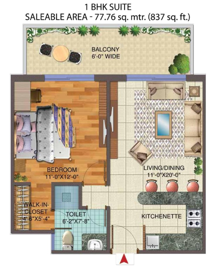 1. Central Park Flower Valley The Room Floor Plan 1 BHK – 837 Sq. Ft.