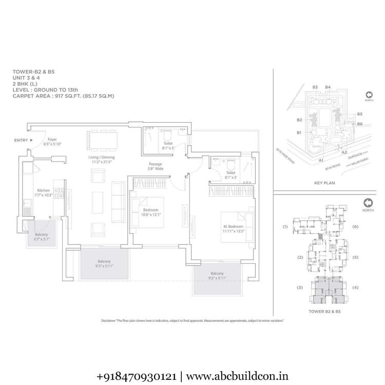 2. Tata La Vida Floor Plan 2 BHK – 1330 Sq. Ft.