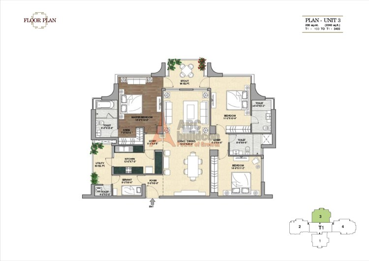 2. Vipul Aarohan Floor Plan 3 BHK + S.R – 2240 Sq. Ft.