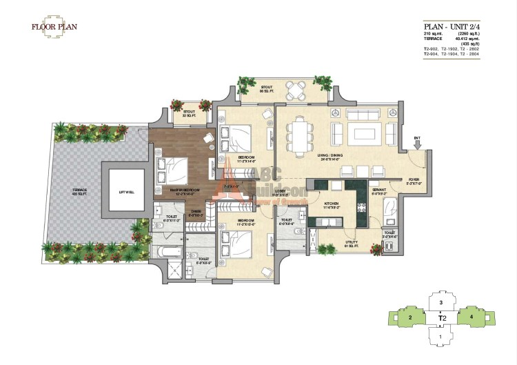 3. Vipul Aarohan Floor Plan 3 BHK + S.R + Terrace – 2260 Sq. Ft.