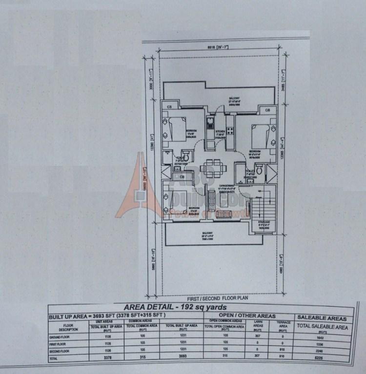 5. Central Park 3 Floors Floor Plan 3 BHK – 1230 (FF) Sq. Ft.