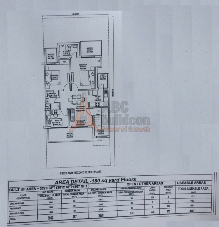2. Central Park 3 Floors Floor Plan 2 BHK – 1093 (FF) Sq. Ft.