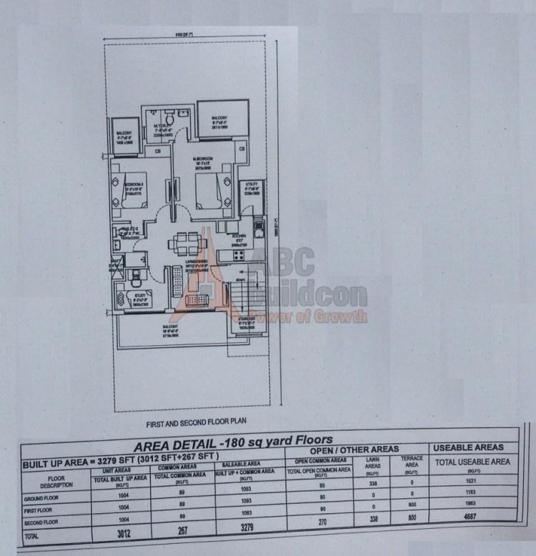 2. Central Park 3 Floors Floor Plan 2 BHK – 1093 (FF) Sq. Ft.