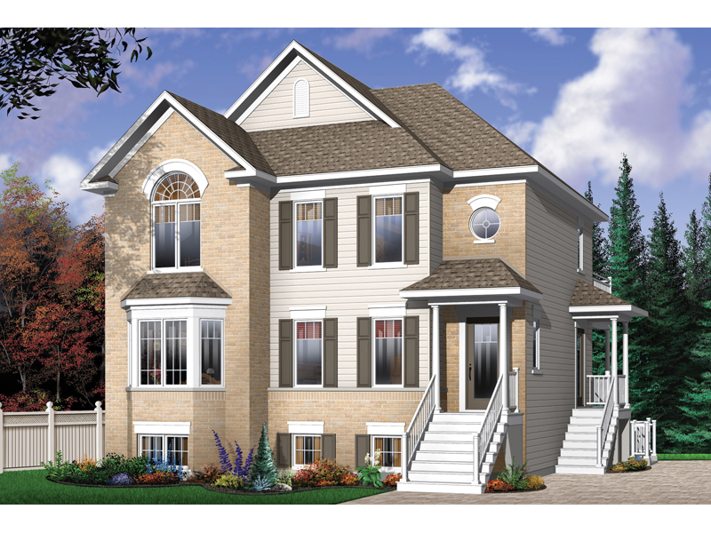 Geary Place Triplex Townhouse Plan 032D0383  House Plans and More