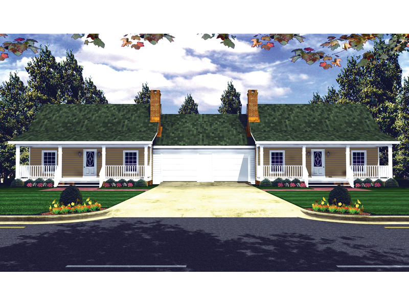 Thorsby Country Duplex Home Plan 077D 0015 House Plans