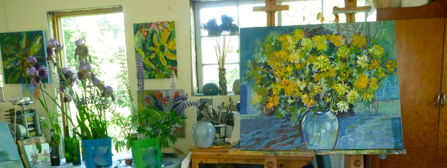 You can see my Wild Rice Pottery piece in the middle of this painting.