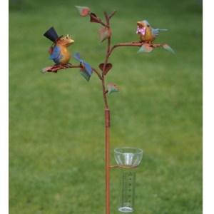 Pluviomètre de jardin métal – pic à planter – Riri et Fifi – Oiseaux