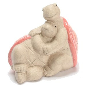 Statue Tortues Calines Rose