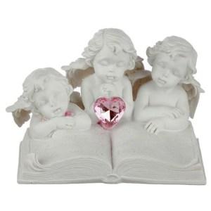 Statue en résine 3 anges avec livre et strass Stefan