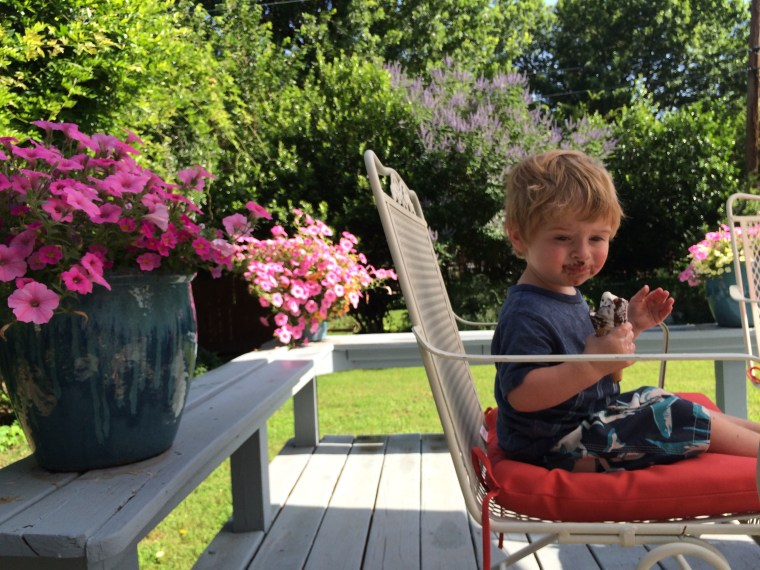 oliver eating ice-cream last summer on our back porch