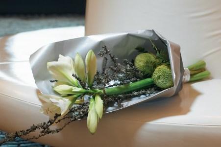 Ammaryllis in a hand-tied bouquet