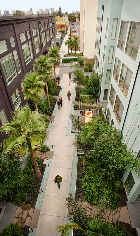 The Dining Room Court, one of three interior courtyards at Pacific Cannery Lofts