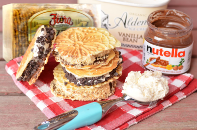 Amaretto Pizzlle Ice Cream Sandwiches