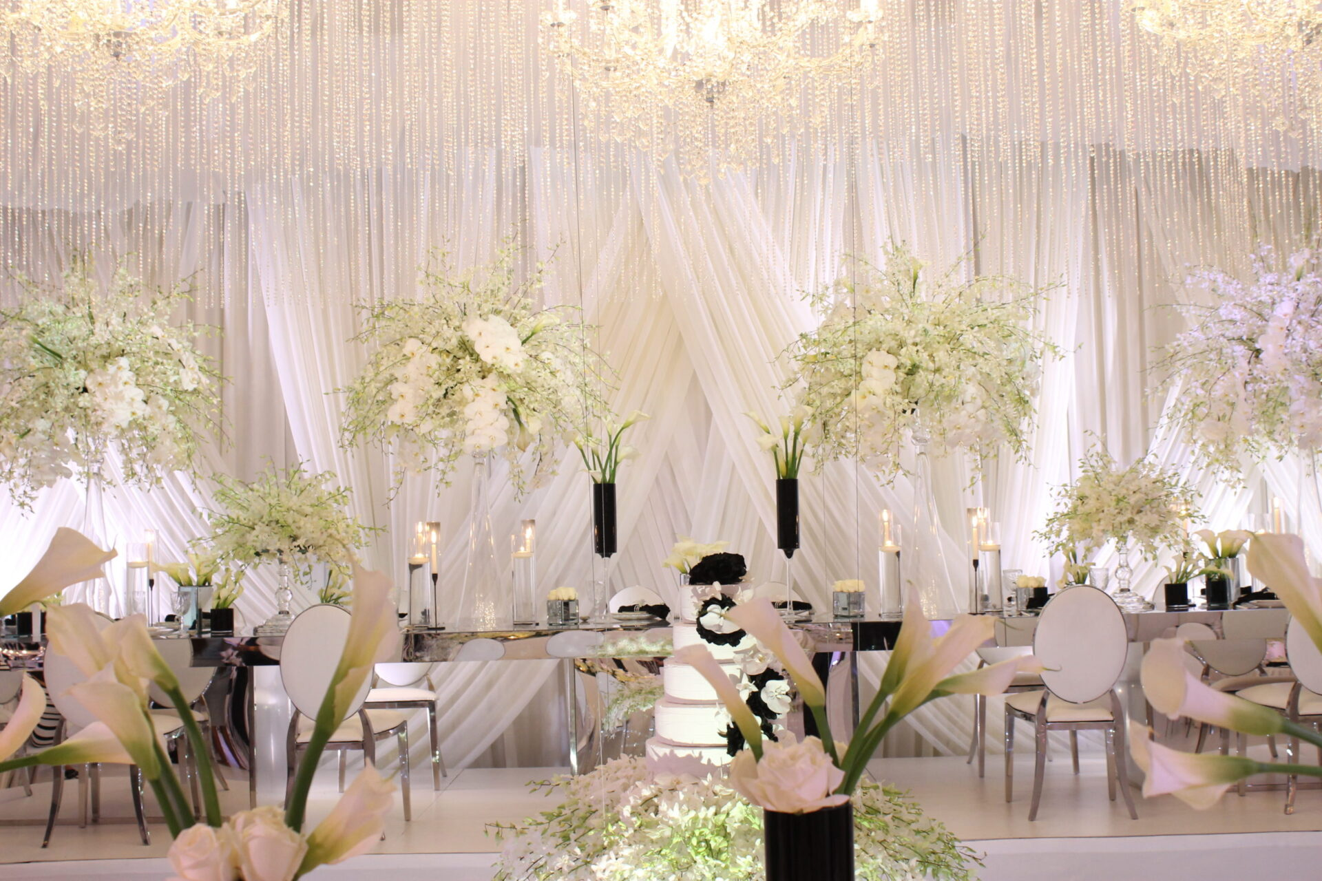 black and white modern wedding with white orchids