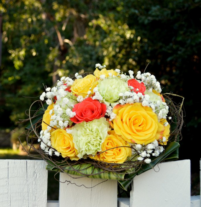 Floral Art Gladstone Florist Yellow, coral rose wedding bouquet, wedding bridal flowers, Florist Gladstone