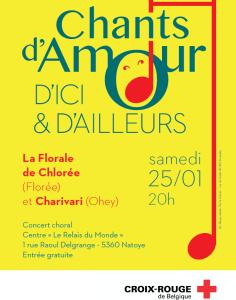 Concert Chants d'amour d'ici et d'ailleurs, relais du Monde - Centre d'accueil Croix-Rouge à Natoye le 25 janvier 2020